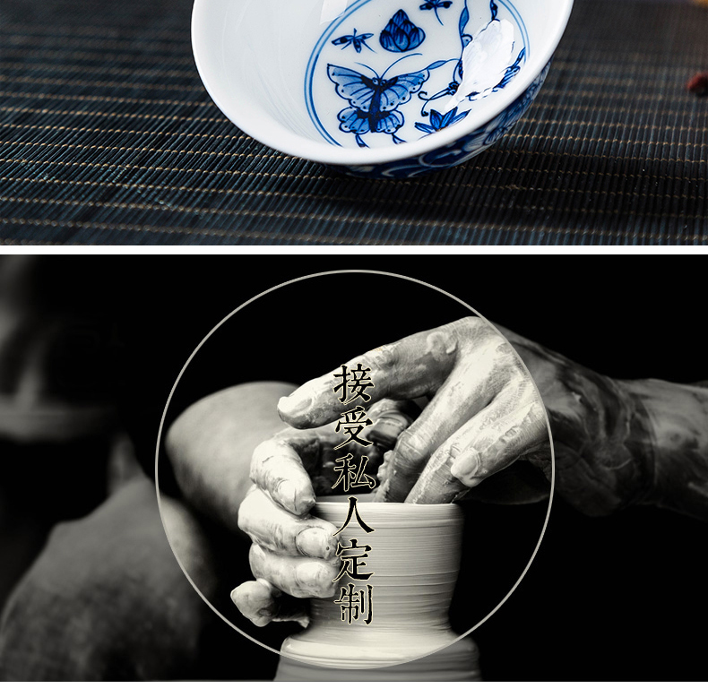 Hand - made ceramic cup butterfly kung fu tea set sample tea cup them thin body red tea cups master cup single CPU