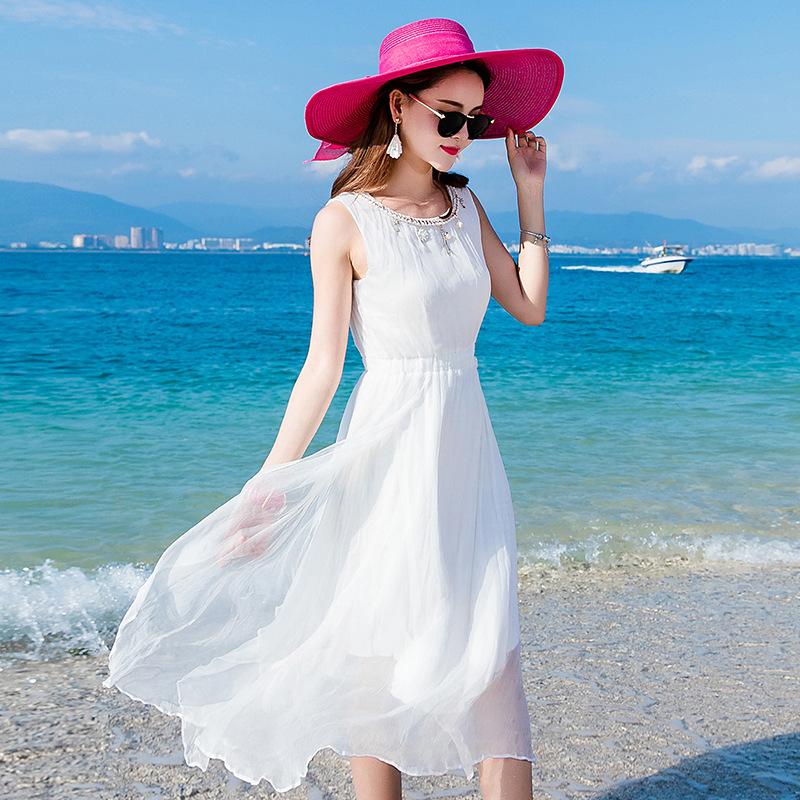 2019拼接无袖圆领夏新款时尚品牌真丝桑蚕丝中长款海边度假沙滩裙
