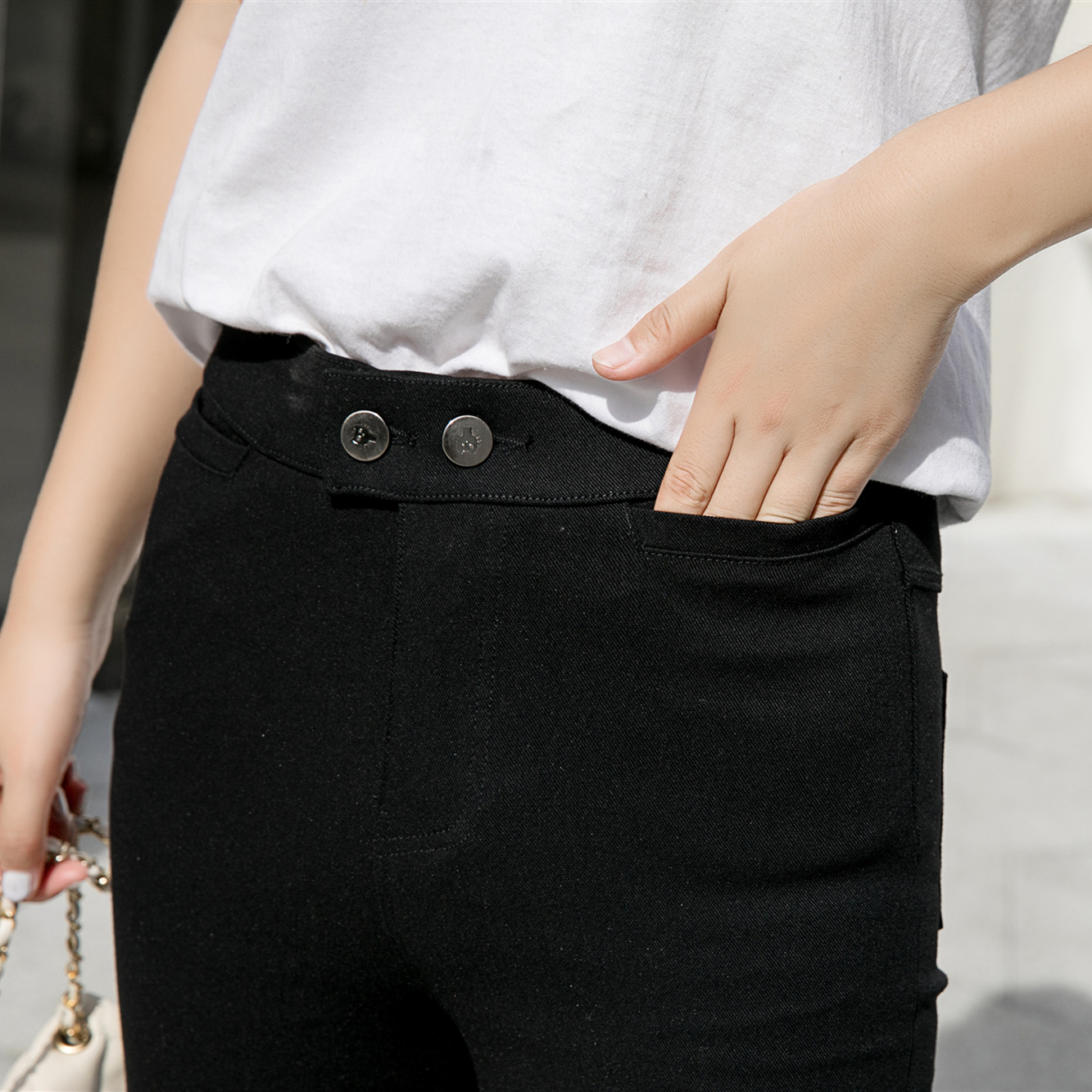 魔术裤女弹力小脚长裤黑色秋季新款紧身2019新款裤子显瘦百搭女裤