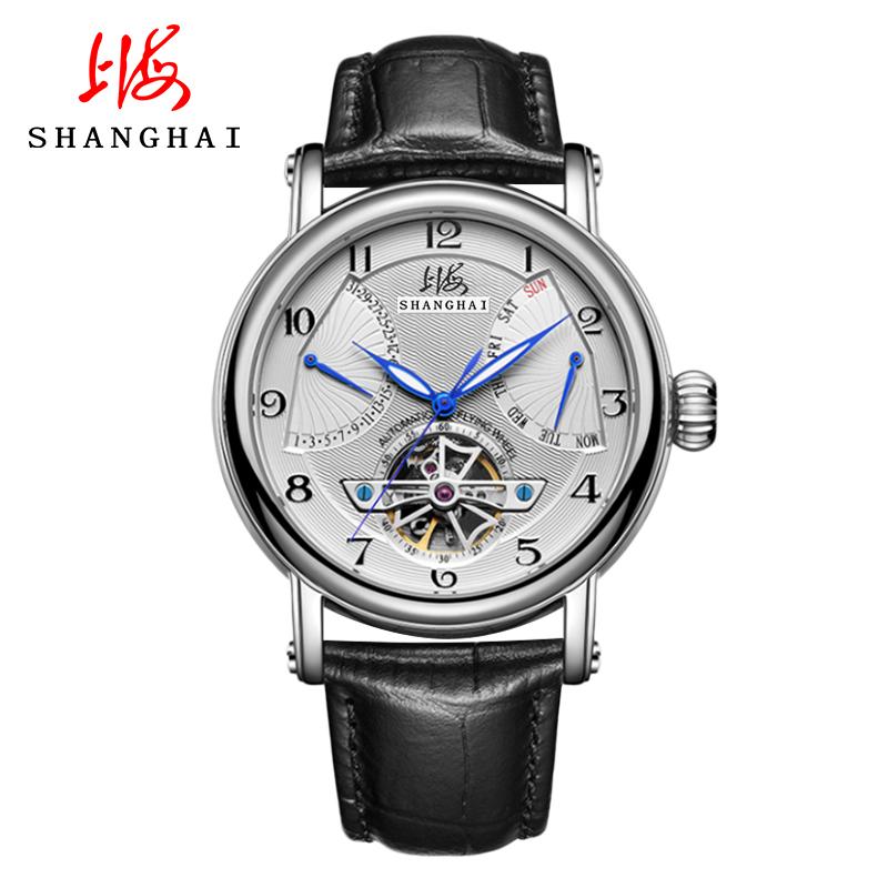 上海手表男自动机械表镂空多功能飞轮运动手表大表盘皮带男表924