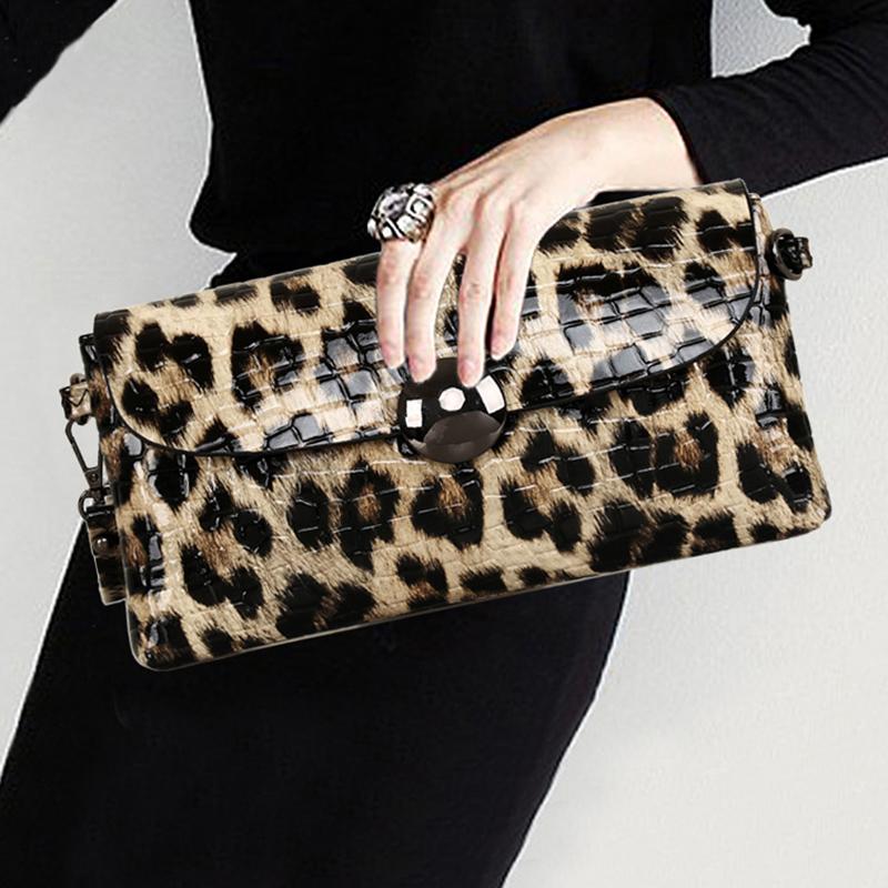 豹纹小包手拿包高端斜真皮挎包宴会气质链条时尚手抓包单肩女包潮