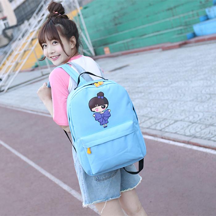 韩版帆布双肩包纯色简约中小学生背包潮女包学院风书包休闲旅行包