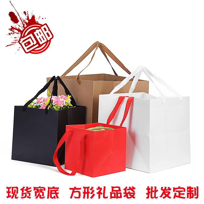 新款宽底大号牛皮纸袋 烘焙蛋糕包装袋子结婚生日鲜花礼品手提袋