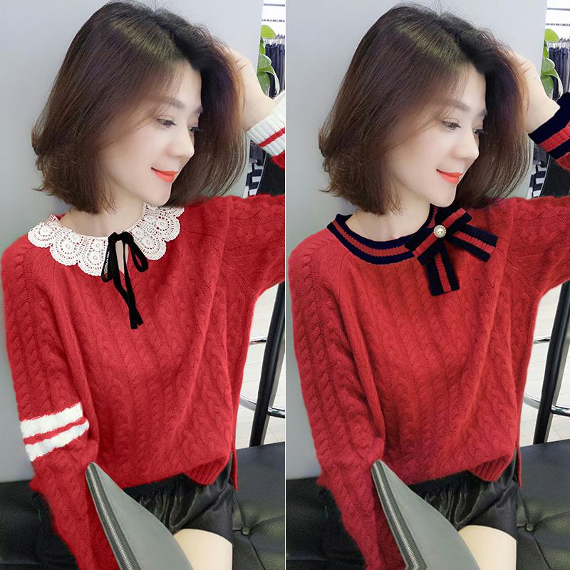 欧洲站2019秋装新款欧货韩版时尚宽松红色拼接蕾丝针织衫毛衣女装