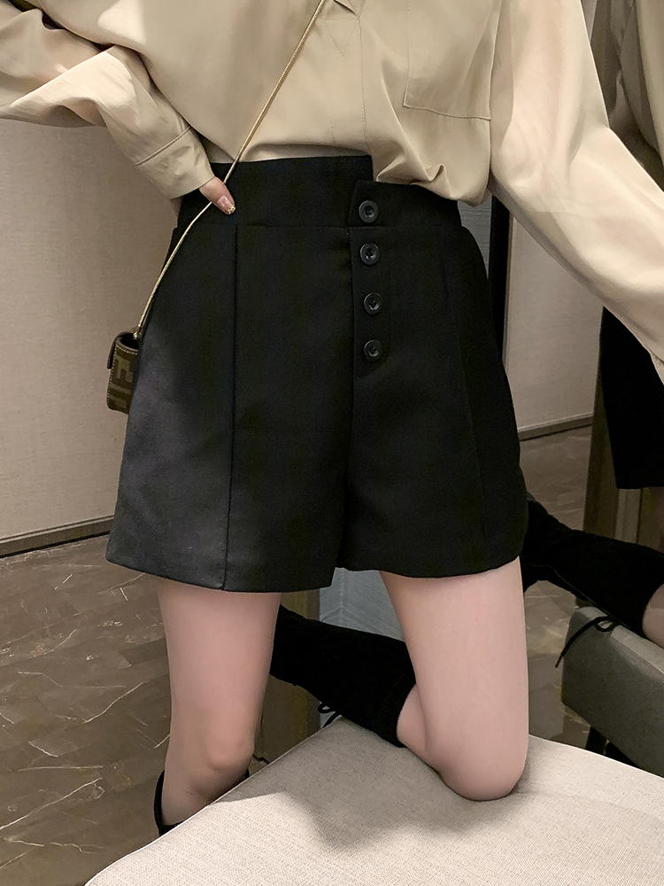 黑色高腰短裤女装春季2020年新款韩版宽松显瘦百搭外穿阔腿裤子潮