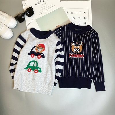 Children sweater round neck baby pullover 2017 autumn and winter new cartoon small boys sweater