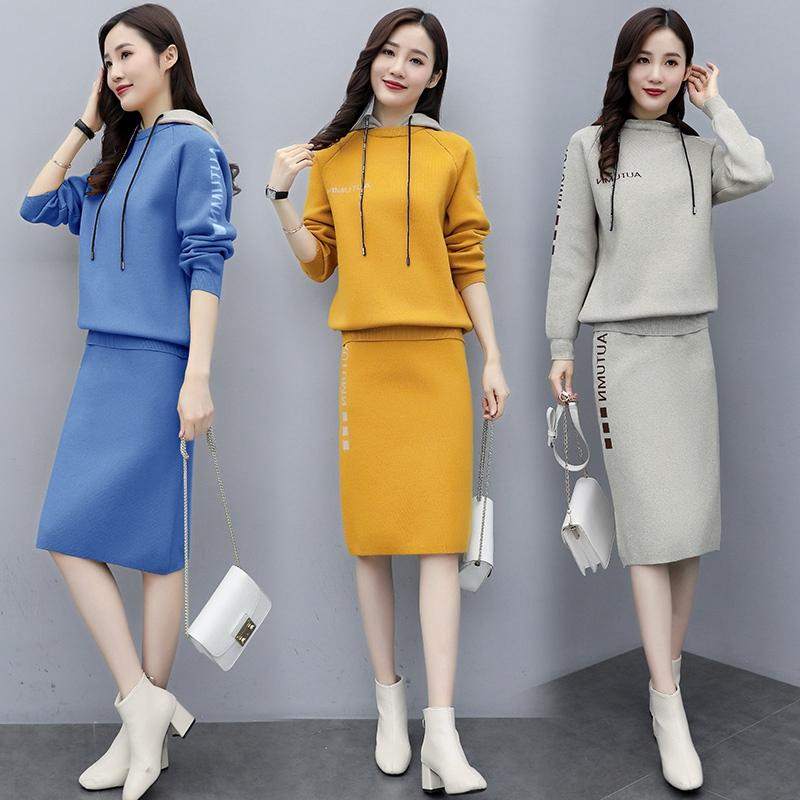 代购2019秋季新款修身连衣裙港味件套女时尚长袖针织包臀裙两套装