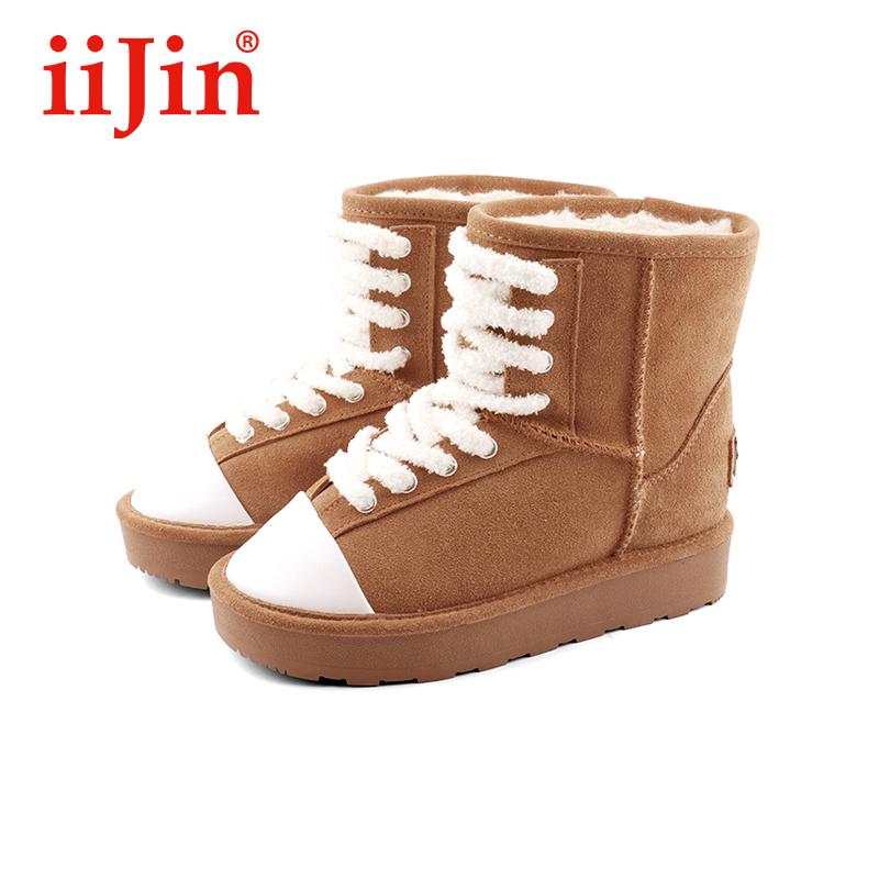 IIJIN艾今2018冬新款厚底防滑系带短靴7cm内增高雪地靴女UF718QA