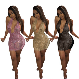 Women sequined sexy suspenders dress nightclub dress перспектива платье женщин