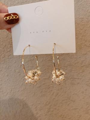 大耳圈新款潮韩国小众高级感耳环手作网红串珠吊坠女泫雅耳钉