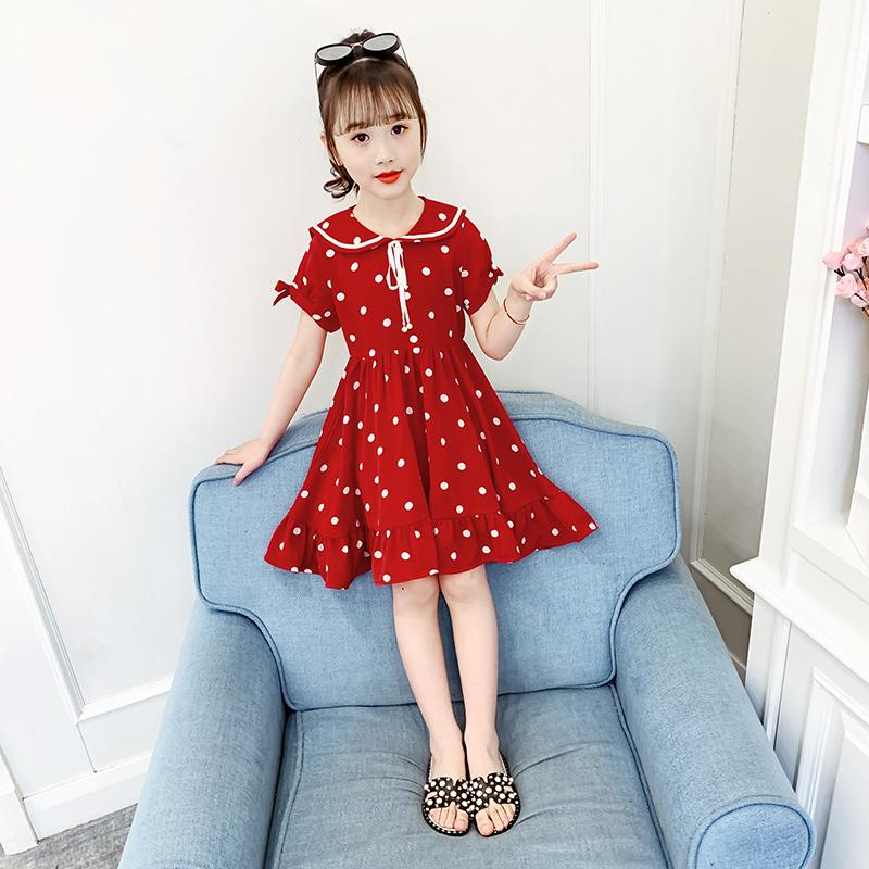 女童夏装连衣裙圆点雪纺韩版洋气潮儿童裙子夏款2020新款夏季群子