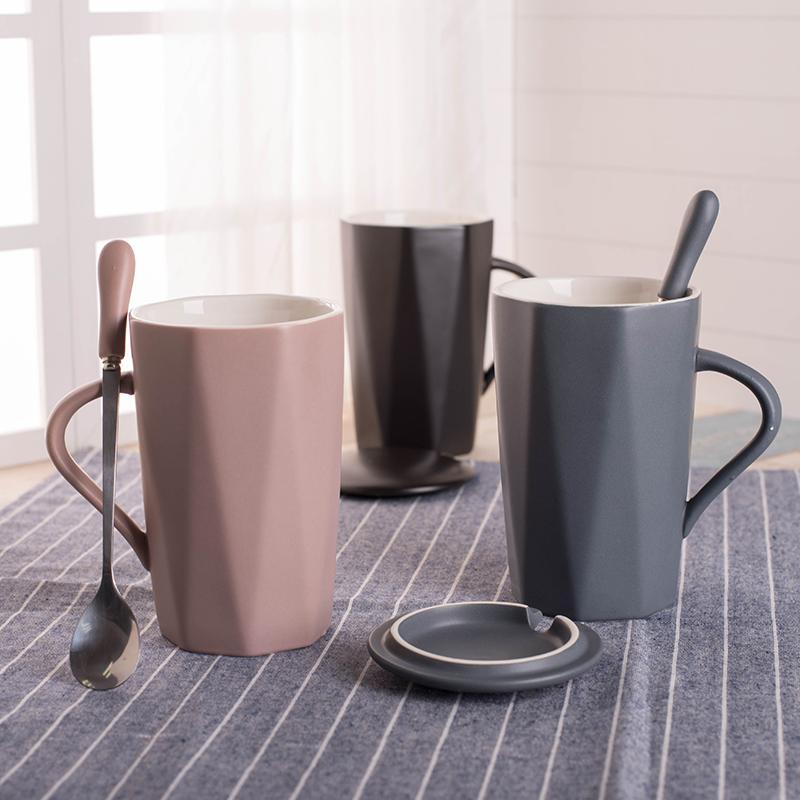 日式ins马克杯带盖勺陶瓷杯子北欧家用水杯简约办公室茶杯咖啡杯