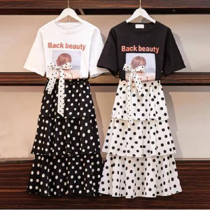 连衣裙韩版波点套装裙两件套