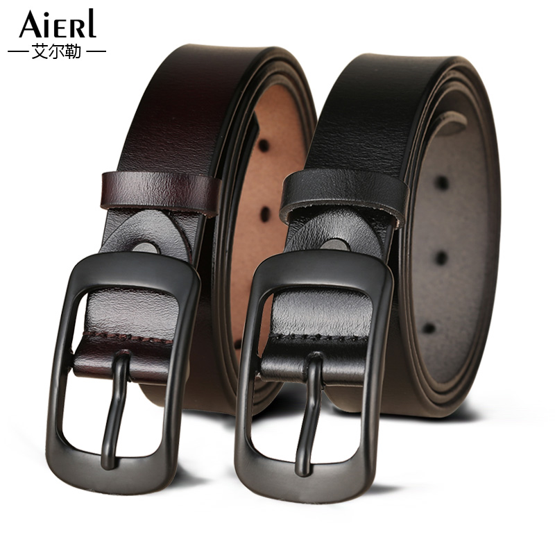 Ladies belt leather pure leather simple wild Korean belt black casual Korean decorative jeans with women