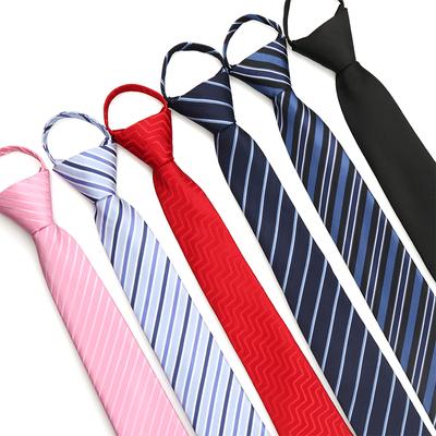 懒人拉链领带衬衫女男士黑色拉绳商务职业一拉得结婚学院风易拉得