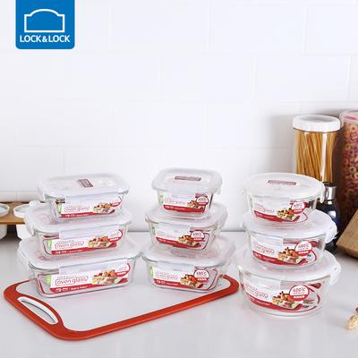 乐扣乐扣旗舰店玻璃保鲜盒微波炉饭盒耐热玻璃碗上班族带饭便当盒