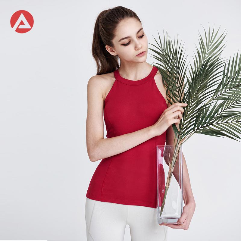 韩国ANDAR瑜伽背心女带胸垫夏圆领美背健身房跑步运动服瑜伽服女