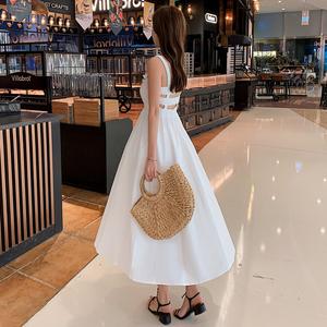 实拍!露背吊带连衣裙2019夏季新款韩版宽松性感洋气休闲长裙