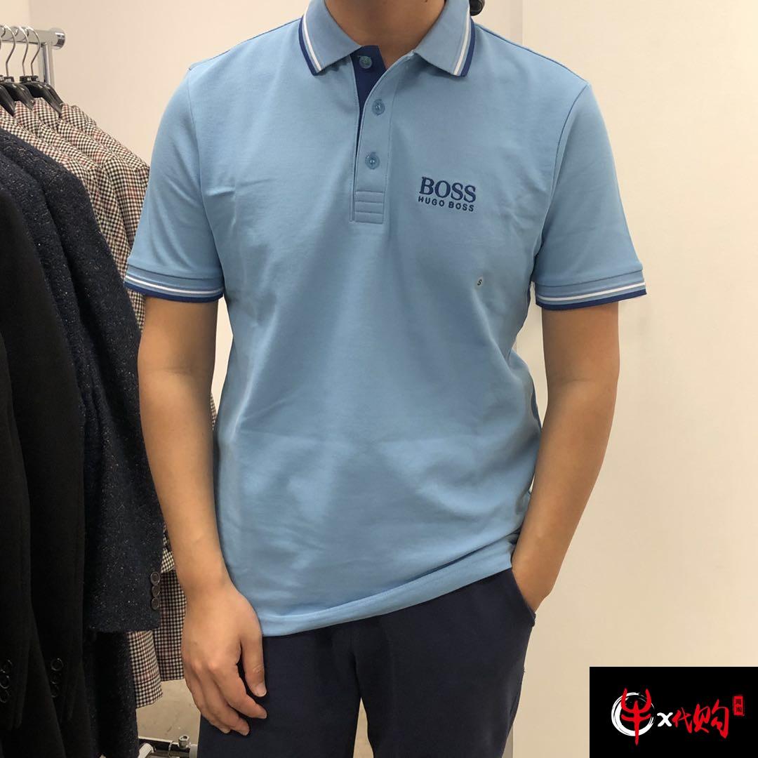 牛X正品 Hugo boss男士经典高端款纯色大logo短袖polo衫翻领T恤