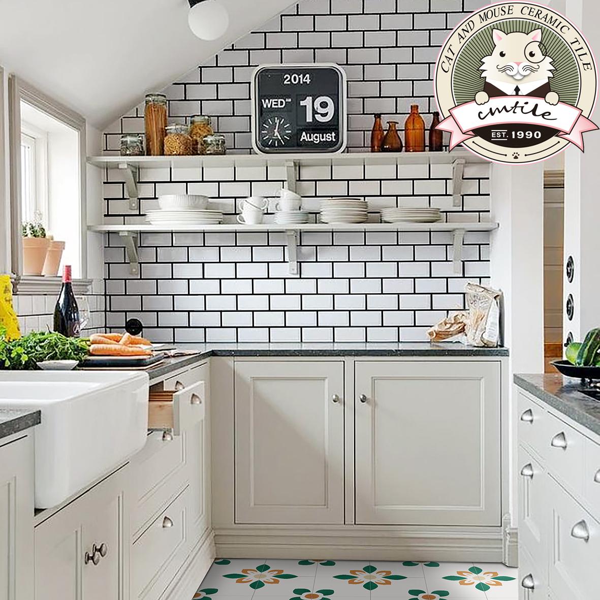 USD 8.54] Nordic white glossy matte glazed interior wall tile bread ...