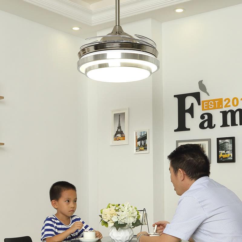 桥田隐形吊扇灯简约家用餐厅客厅卧室风扇灯带LED可变频风扇吊灯