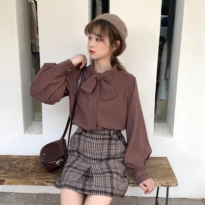 2019春装新款韩版小清新学生百搭宽松显瘦加厚长袖上衣网红衬衫女