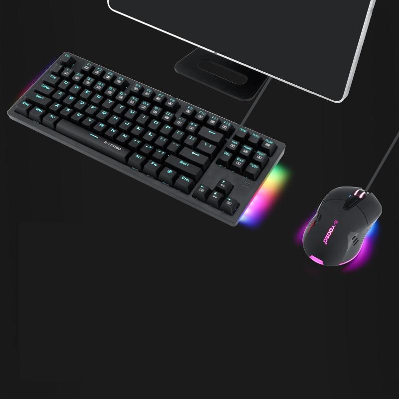 E元素K610/620机械键盘鼠标套装青轴黑轴茶轴红轴87/104键游戏电竞专用电脑笔记本台式办公吃鸡外接有线外设