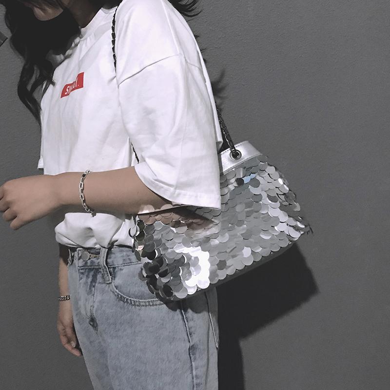 抖音同款chi亮片韩版链条斜挎单肩水桶包-优惠价5元销量711件