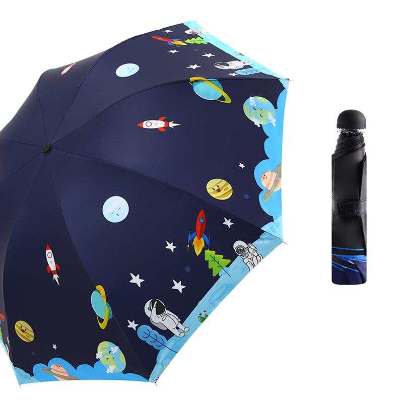 防回弹全自动儿童雨伞女小学生男小孩折叠轻便小学电动雨具太阳伞