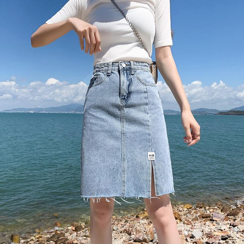 透气修身显瘦侧开叉牛仔包臀裙修身显瘦百搭神器!a字阔腿版型