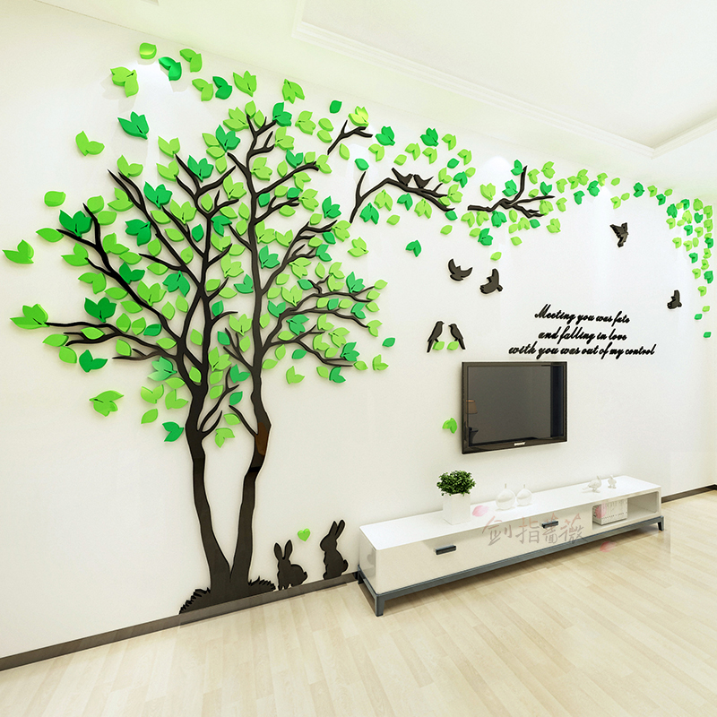 Creative tree 3d acrylic solid wall stickers living room TV ...