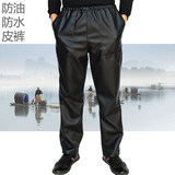Men's leather pants middle-aged and elderly loose casual windshield plus velvet thickened warmth, oil-proof and waterproof motorcycle wear-resistant work pants