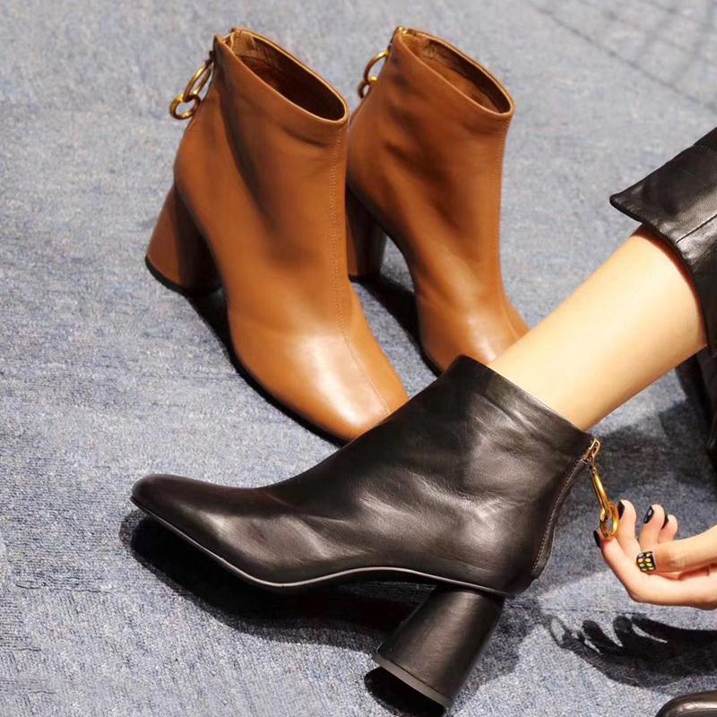 欧洲站女鞋秋冬靴子女短靴粗跟方头高跟马丁靴女及裸靴真皮及踝靴