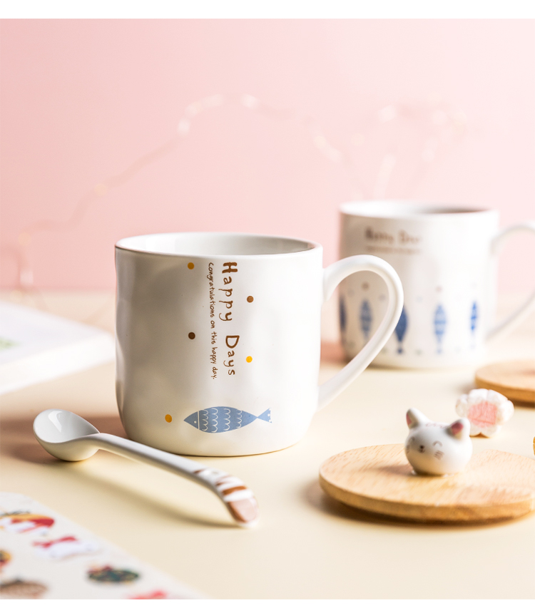 Lototo creative move with cover glass ceramic keller spoon lovers ultimately responds a cup of sweet coffee cup