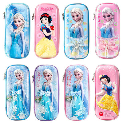 Disney pencil bag girl children's kindergarten primary school students lovely and simple ice and snow strange luck stationery bag pencil box female double cartoon boy Princess Girl Grade 1-3 stationery box ins tide