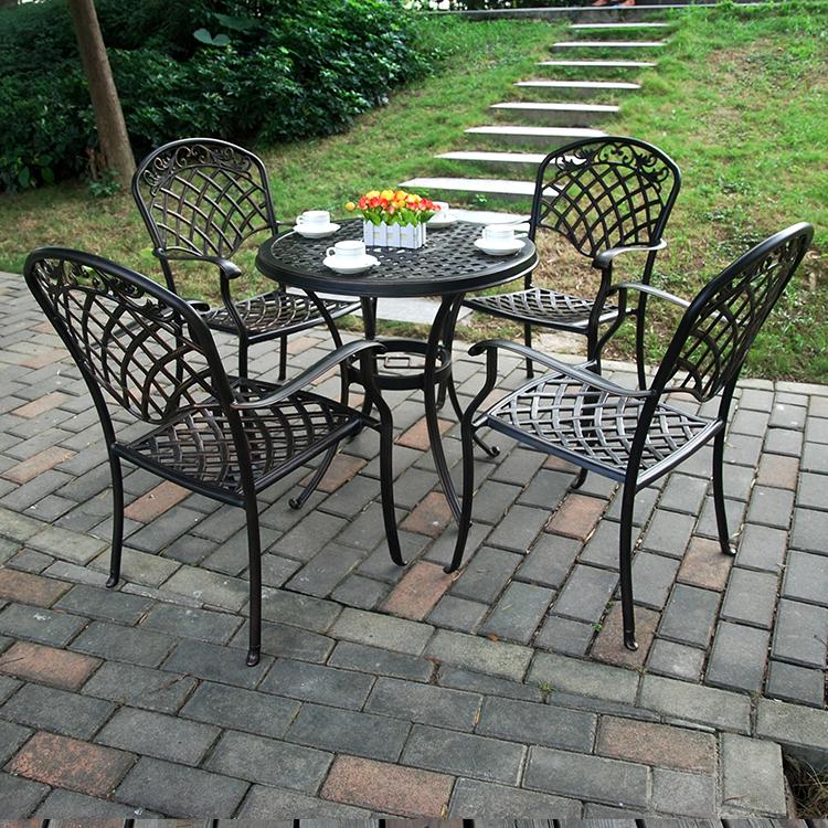 Sân vườn đồ gỗ ngoài trời giải trí đúc nhôm bàn ghế biệt thự sân sắt ban công sắt kết hợp bàn cà phê tùy chỉnh nhà máy bán hàng trực tiếp - Bàn ghế ngoài trời / sân