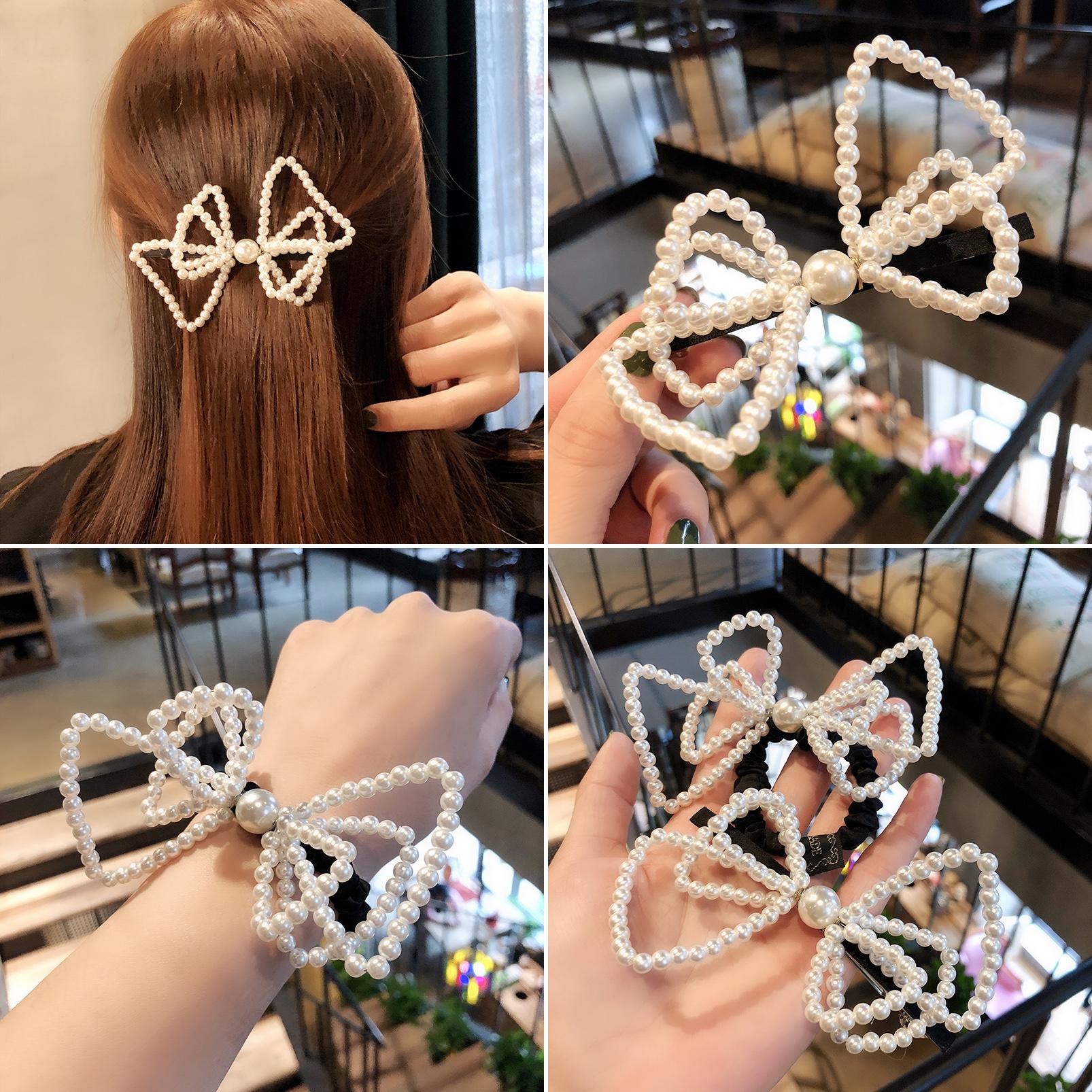 超大韩国蝴蝶结弹簧珍珠网红大号发圈夹顶夹珍珠发夹森女系头饰品