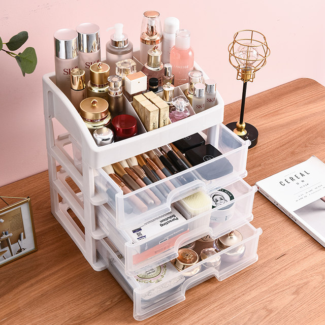 Cosmetic box desktop drawer plastic rack home simple dust-proof finishing rack transparent cosmetic storage box