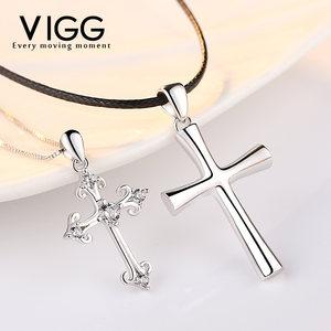 999纯银情侣项链一对韩版男女学生简约十字架创意潮人森系锁骨链