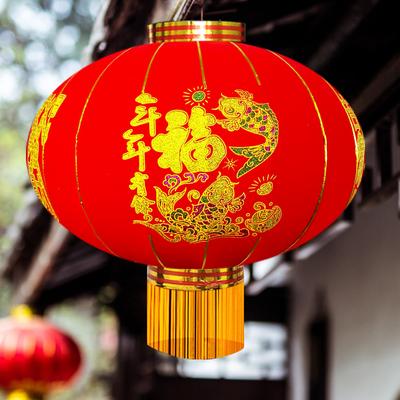 【千影】节日喜庆植绒大红灯笼