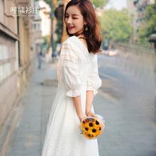 超仙收腰冷淡风极简显瘦白色连衣裙
