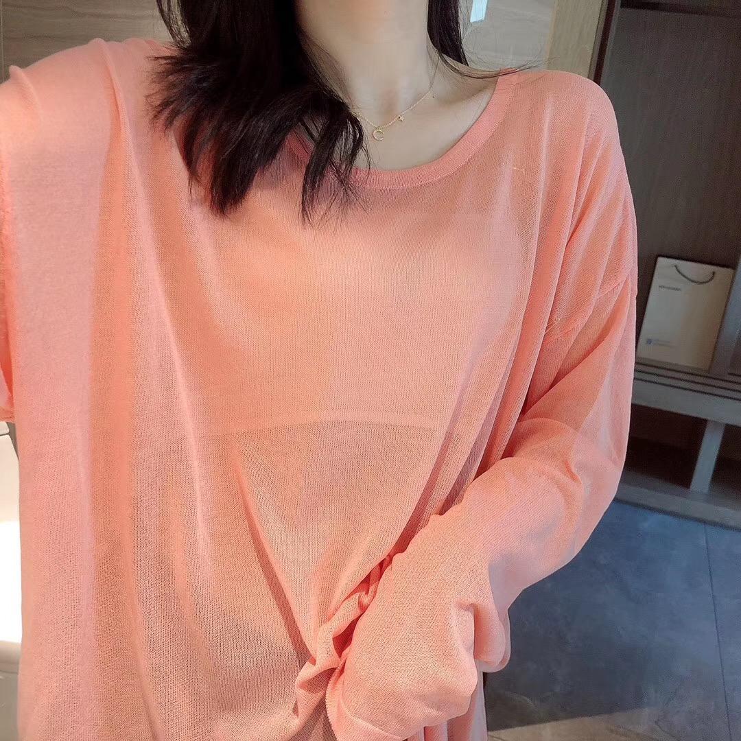 夏季长袖薄款冰丝罩衫女针织套头防晒衣中长款上衣衫宽松防晒空调