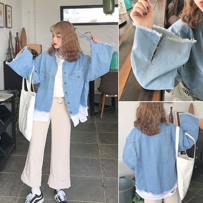 Fat MM200 kg women's casual large size fall jacket cowboy stitching split ends sleeves jacket loose tide