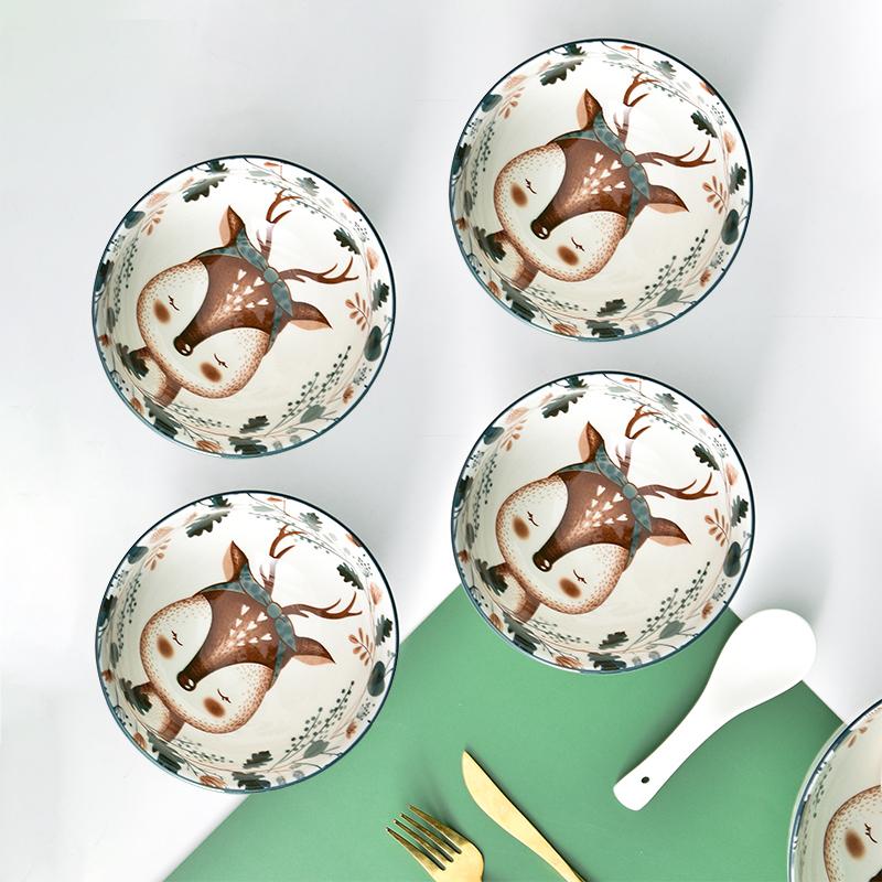 小鹿中日欧式碗碟套装家用陶瓷饭碗筷餐具吃饭碗单个十4-10人碗盘