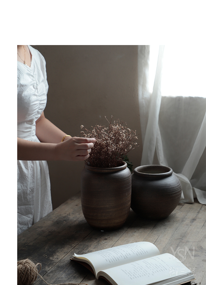Royal three mud flower arrangement sitting room adornment is placed manually coarse pottery son flower pot in the flower vase of porcelain basin and marble pedestal zen