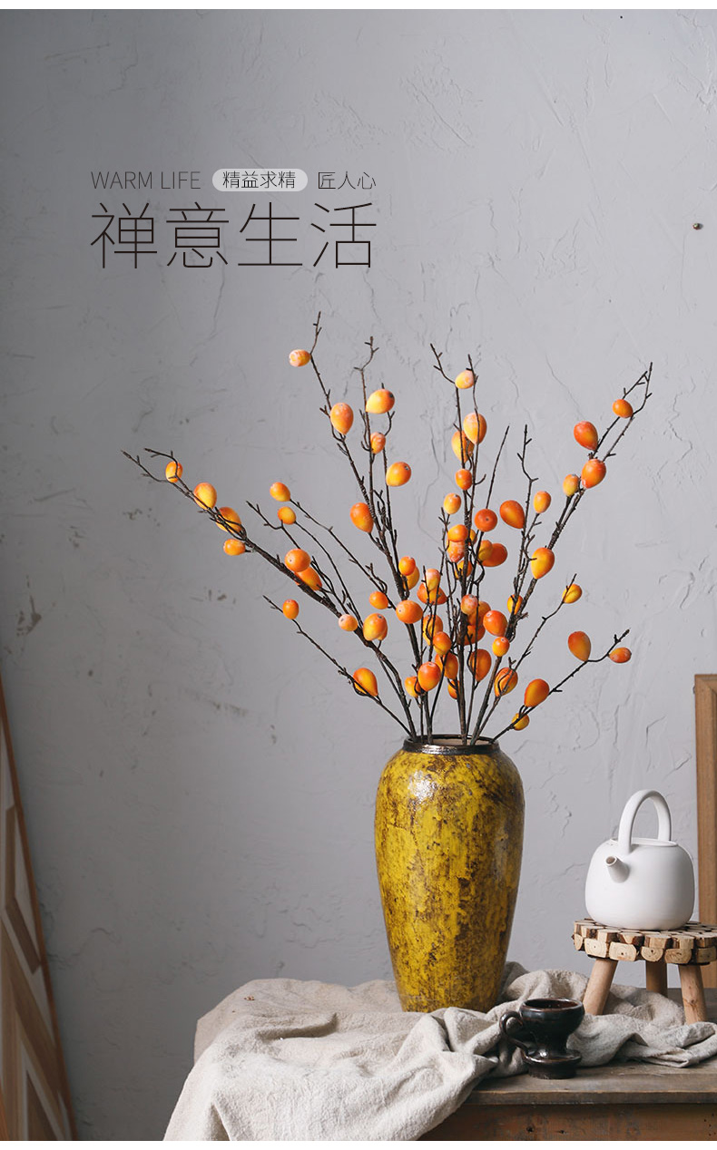 Royal three clay ceramic vase mesa amber yellow desktop furnishing articles sitting room of rural wind decorative dried flowers, flower implement arranging flowers