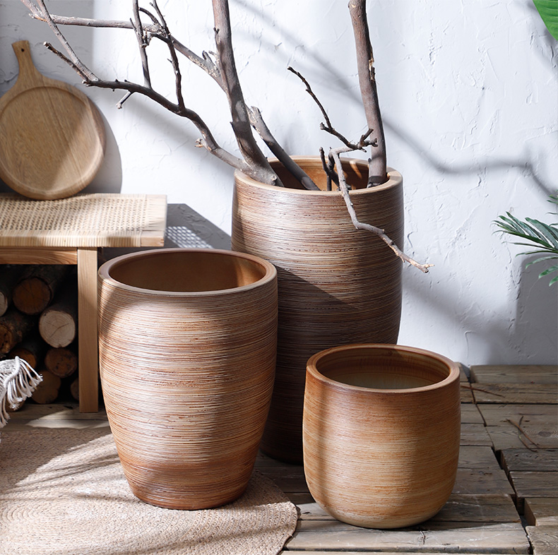 Nordic flowerpot pastoral restoring ancient ways furnishing articles dried flower vases, ceramic green plant hydroponic POTS of large diameter indoor the plants