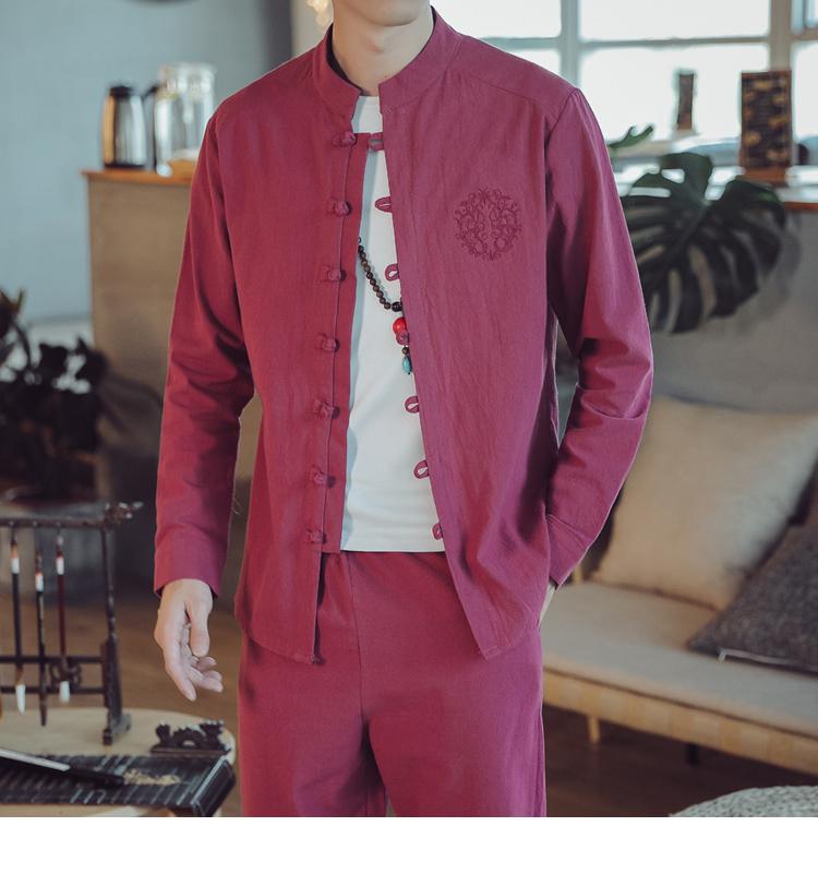 7011-P55中国风刺绣大码棉麻衬衫男士秋季复古亚麻长袖衬衣*黑色