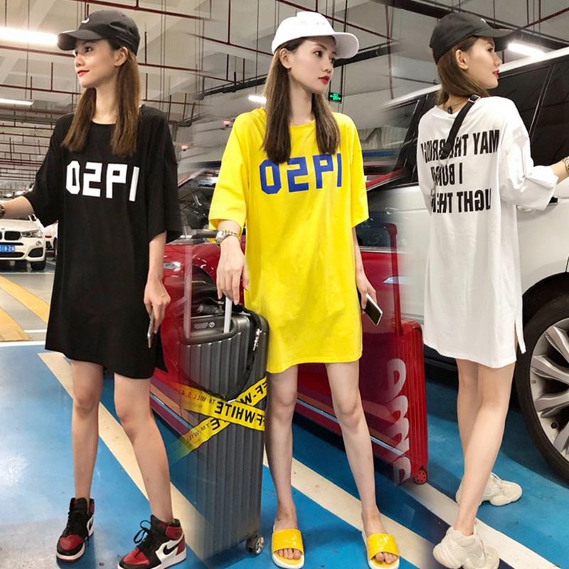 夏季新款韩版中长款字母印花下衣失踪短袖宽松欧货大版T恤女BF风