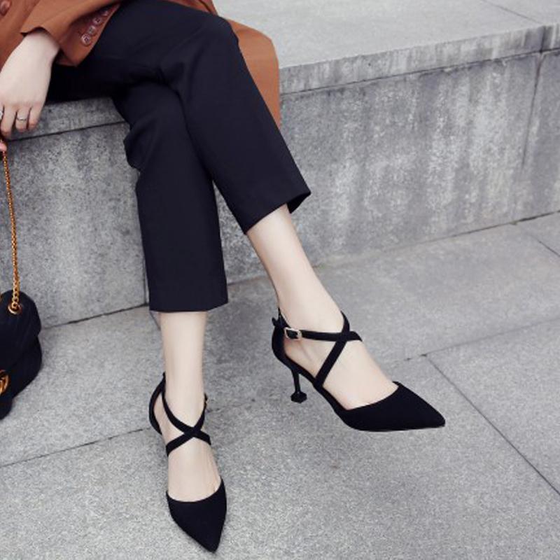 2018夏季新款尖头细跟中跟交叉绑带凉鞋韩版真皮高跟磨砂百搭女鞋